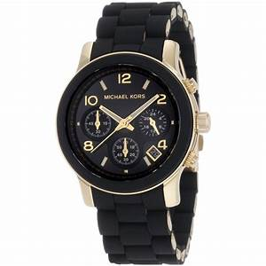 Michael Kors Ladies Runway Chronograph Black & Gold ...