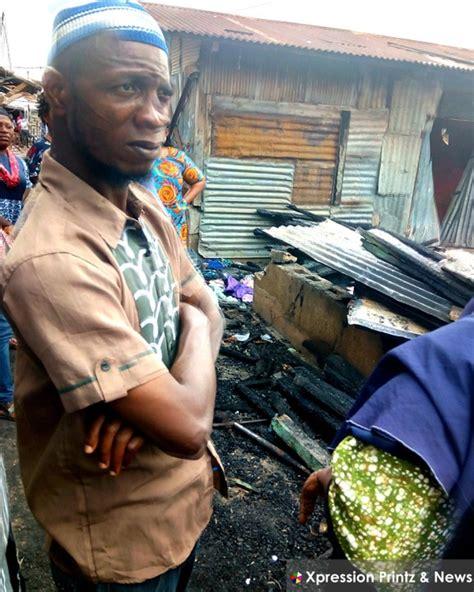 properties destroyed  fire razes  shops  mokola