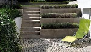 Garten Mit Steinen Anlegen : natursteine gestaltung passend zu moderner architektur und kleinem hanggarten ~ Bigdaddyawards.com Haus und Dekorationen