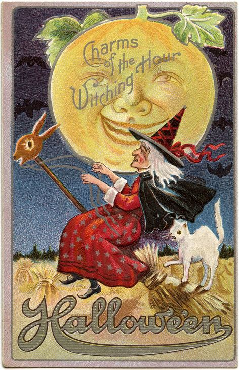 spooky red halloween witch images vintage