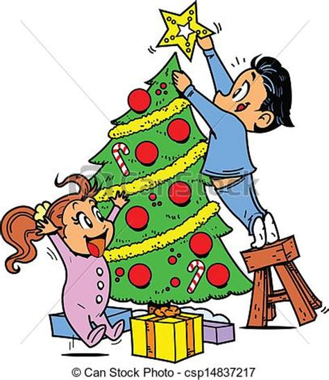 vector clip art  trimming  christmas tree young boy