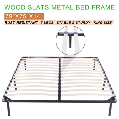 4887 metal bed frame king wood slats metal bed frame king size mattress foundation