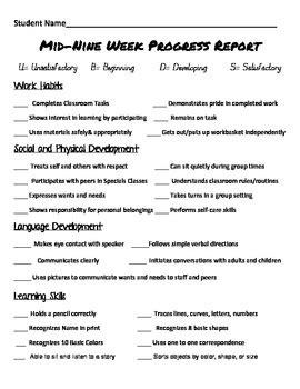 preschool kindergarten progress report by teacher4all tpt 636 | original 359951 1