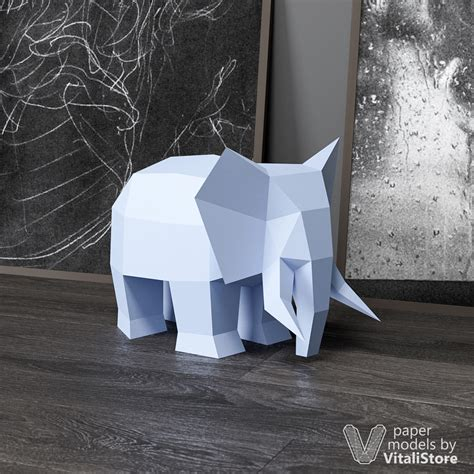 elephant papercraft diy paper sculpture diy gift