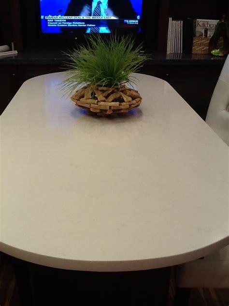 pompeii quartz vanilla ice midcentury dining room