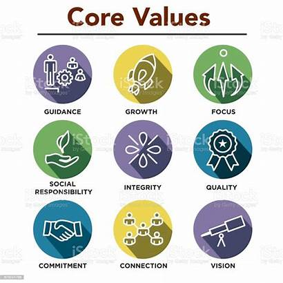 Values Core Company Icons Infographics Business Outline