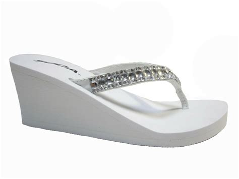 White Wedge Rubber Rhinestone Bridal Wedding Flip Flops