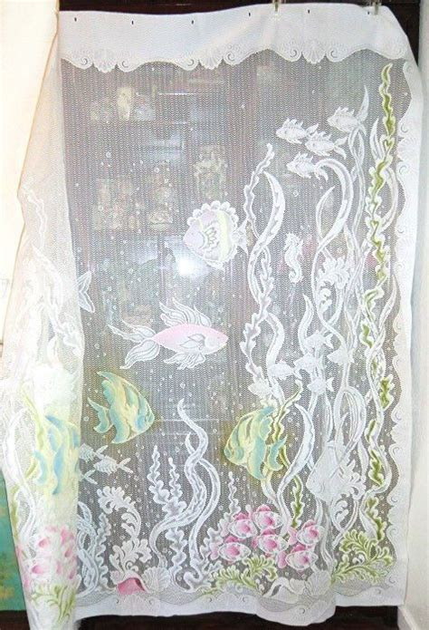 vintage tropical lace shower curtain  fish shells
