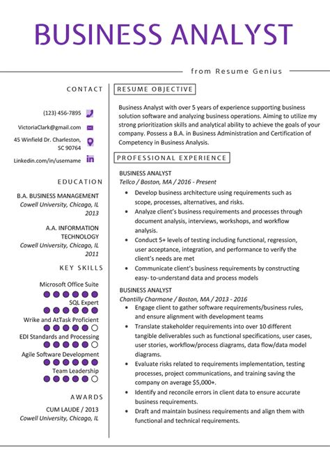 business analyst resume  writing guide resume