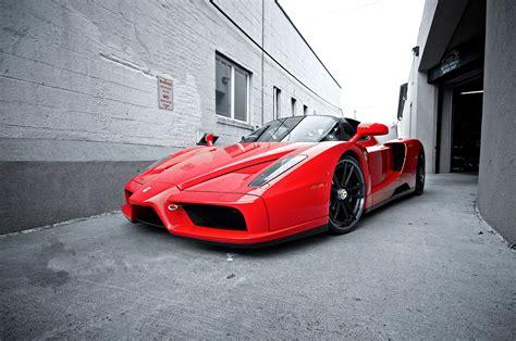 wallpaper street red sports car ferrari enzo