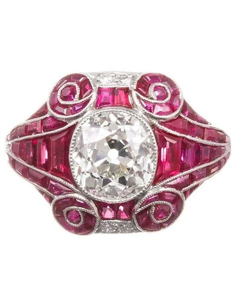 an art deco diamond and ruby ring 1930s centring a 2 25