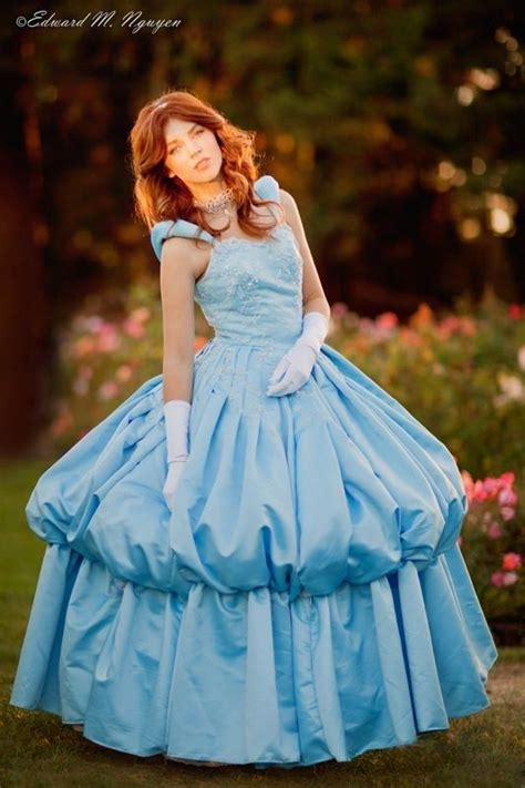 hand crafted couture cinderella light blue satin ball gown dress masquerade sweet  adult