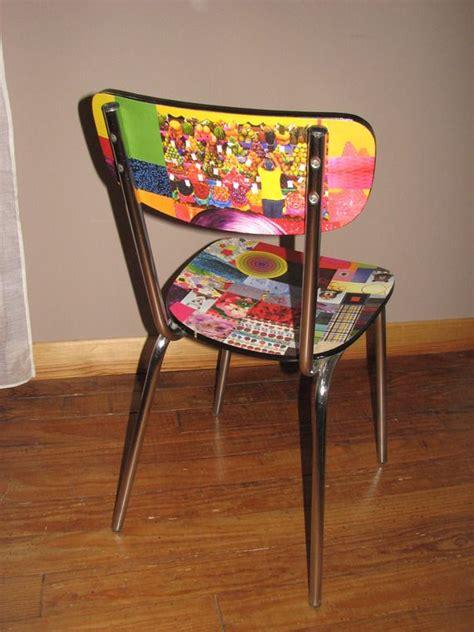 chaise multicolore chaise formica relookée en papier collé multicolore a