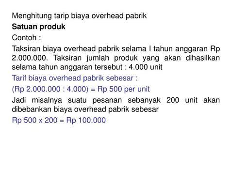 ppt menghitung tarip biaya overhead pabrik satuan produk contoh powerpoint presentation id