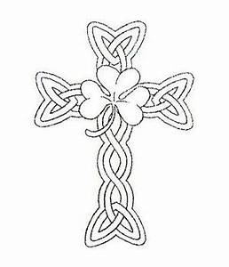 Uncolored Shamrock Celtic Cross Tattoo Design ...