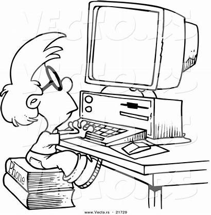 Computer Coloring Pages Cartoon Drawing Boy Using