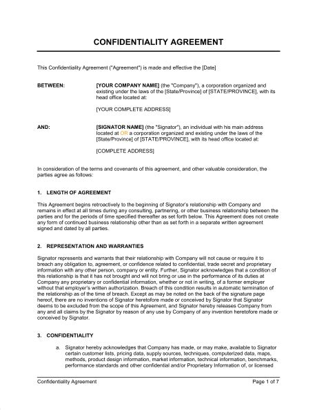 confidentiality agreement template confidentiality agreement for consultants contractors template sle form biztree