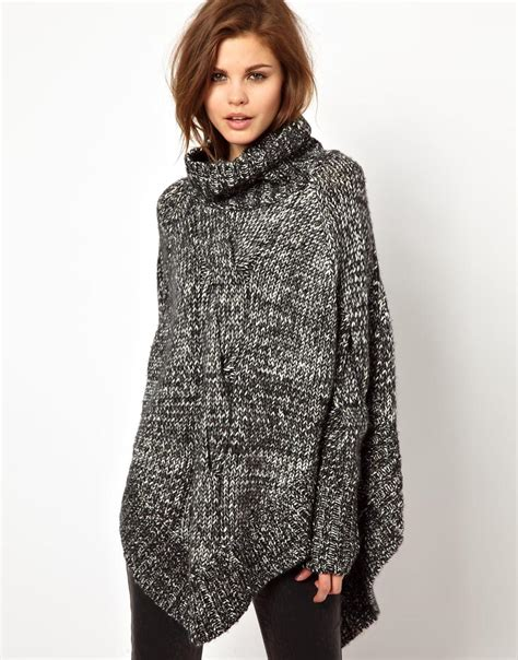 asos 2nd day knitted poncho in twisted yarn in gray lyst