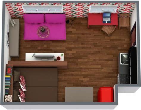 aerial view    floor plan   studio apartment    college student decor