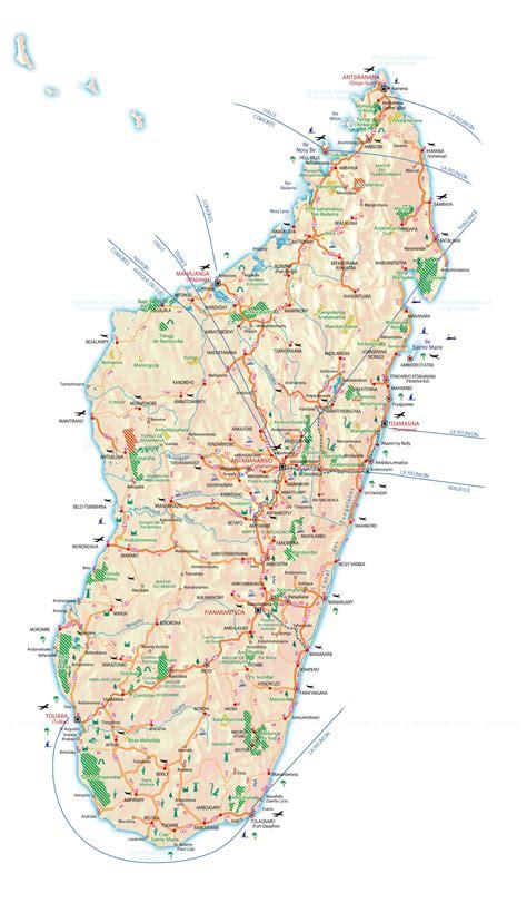 large detailed road  tourist map  madagascar