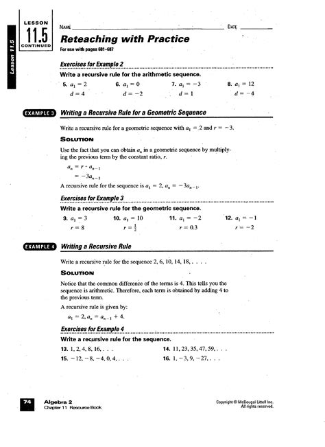 Arithmetic Sequence Worksheets with Answers