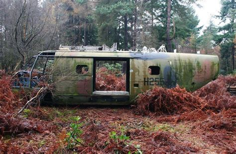 abandoned puma helicopter wreck lies   forest