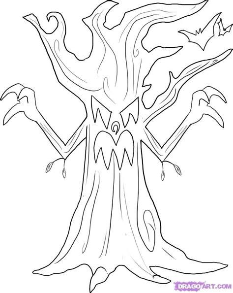 draw  spooky cat   draw  spooky tree step