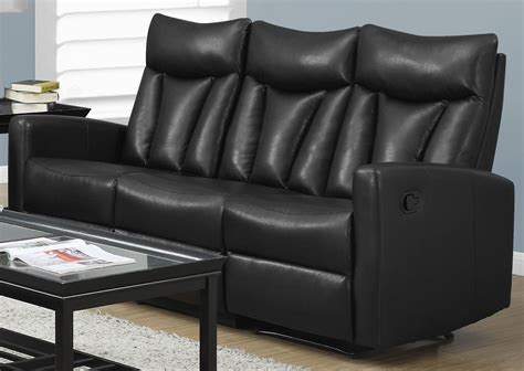 black leather reclining sofa 87bk 3 black bonded leather reclining sofa from monarch