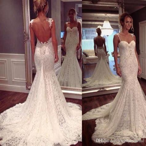 2017 Low Back Wedding Dresses Lace Spaghetti Straps