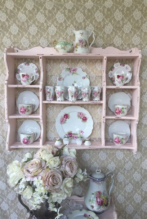 shabby cottage chic pink wall curio cabinetplate rackhanging display shelf vin shabby chic