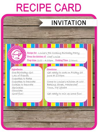 s day recipe card template recipe card cooking invitation template