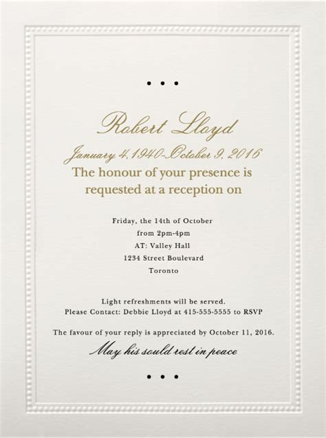 funeral reception invitations funeral reception