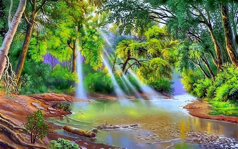 Nature Painting Wallpaper by Nature River Trees With Green Leaves Sun Rays Hd