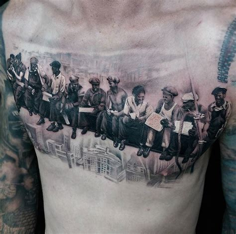 lunch atop  skyscraper guys chest piece  tattoo