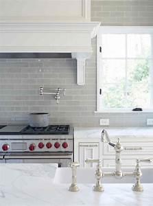 Gray Glass Subway Tile - Transitional - kitchen - L Kae