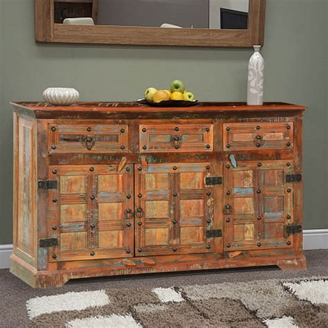 Salvaged Wood Sideboard by Ross Rustic Plaid Reclaimed Wood 3 Drawer Sideboard Cabinet