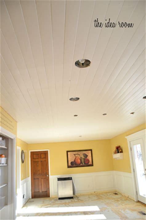 diy  wood plank ceiling