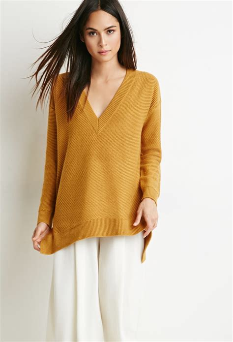 oversized sweater forever 21 oversized v neck sweater in yellow mustard lyst