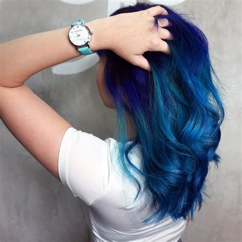 Violet X Blue Galaxy Dip Dye Hair — 99 Percent Hair Studio