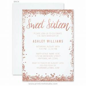 rose gold faux glitter sweet 16 invitations print creek With free wedding invitation templates rose gold