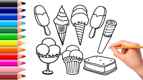 coloring ice cream drawing  kids learning colors