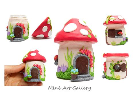 Mushroom house jar - fly agaric polymer clay by