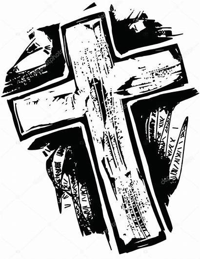 Cross Drawn Hand Illustration Vector Wooden Rugged