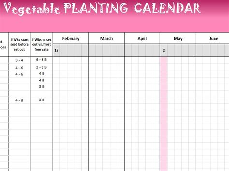vegetable planting calendar  excel templates