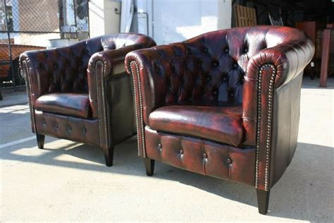 A Pair Of Chesterfield Tub Chairs 100% Genuine Leather Ox