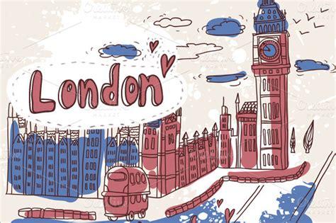 cartoon london illustrations  creative market
