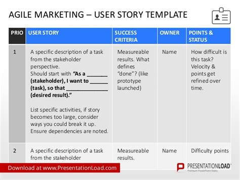 agile user story template agile project management