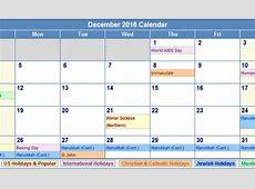December 2017 Calendar With Holidays weekly calendar