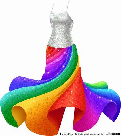 Rainbow Sparkly Dresses Twirly Colors Paper Dolls