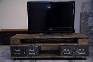 Meuble Tv Industriel : petit meuble tv industriel volp 39 art et mimi ~ Preciouscoupons.com Idées de Décoration